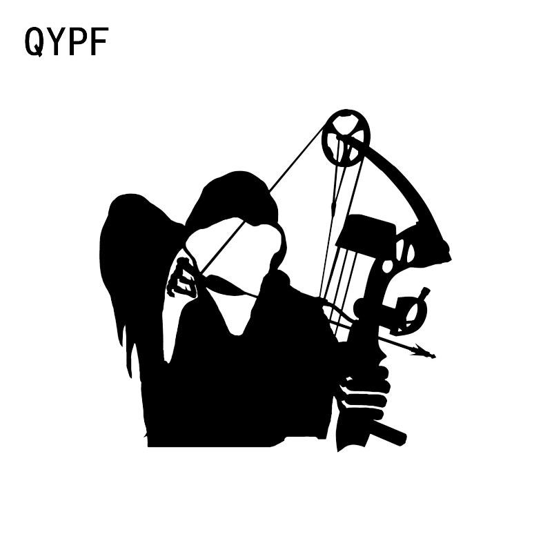 QYPF 12.5*12.1CM Interesting Archer Bow Hunting Decor Car Sticker Accessories Vinyl Silhouette C16-1638