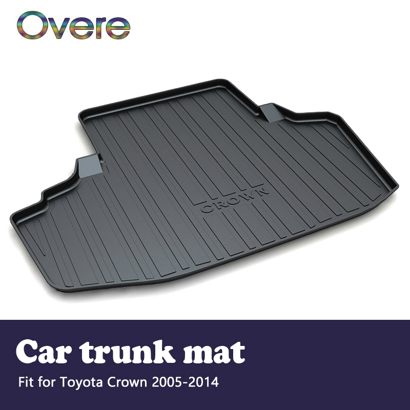 Overe 1Set Car Cargo rear trunk mat For Toyota Crown 2005 2006 2007 2008 2009 2010 2011 2012 2013 2014 Boot Liner Accessories leather car trunk mats for kia shuma carnival niro 2008 2009 2010 2011 2012 2013 2014 2015 2017 car floor rear cargo liner mats