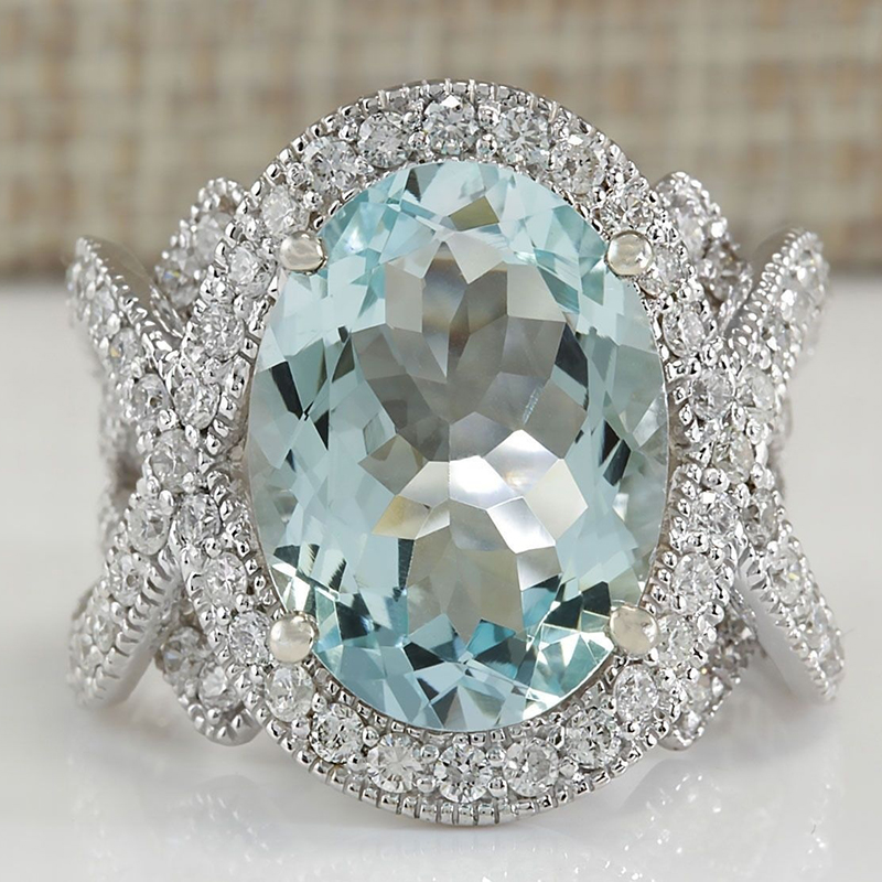 Big Oval Light Blue Stone Ladies Rings for Women Classic Jewelry Engagement Gift Ring Charm Silver Wedding Ring Bijoux O5K012