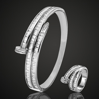 AAA Zircon Bangle & ring Wedding   Jewelry     Sets     Fashion   Women Love Bangles Women's Vintage Bangle&Aneis Ouro Pulseira Mujer