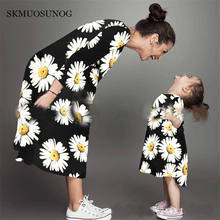 Mother daughter Children dress clothing mom and kids couple look stripe family matching outfits Baby Girls clothes dress C0264