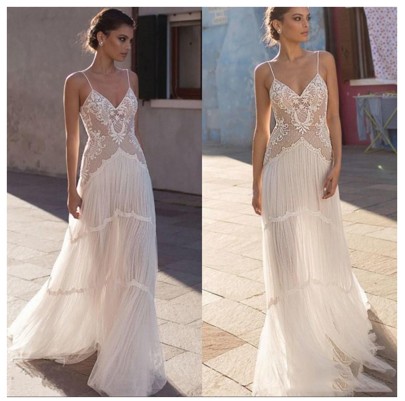LORIE Wedding Dress 2019 Vestidos De Novia Spaghetti Straps Lace Sexy Bridal Gown Elegant Backless Wedding Gowns