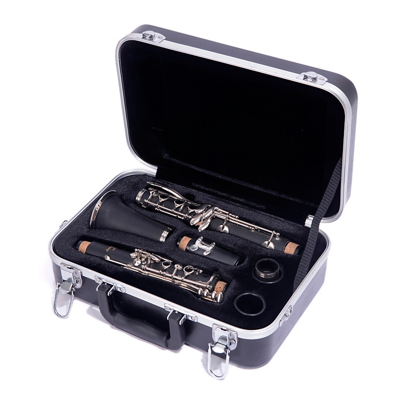 17 Buttons Lock Design Hardware Bb Clarinet Box Black Clarinet Bag Shoulder Strap Clarinet Case Portable Hard Box Clarinet Bag