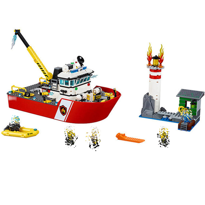 461pcs Fire Ship Rescue Lighthouse Firefighter 3D Building Blocks Education Toys for Kids Gifts Compatible With Lego 02057 image