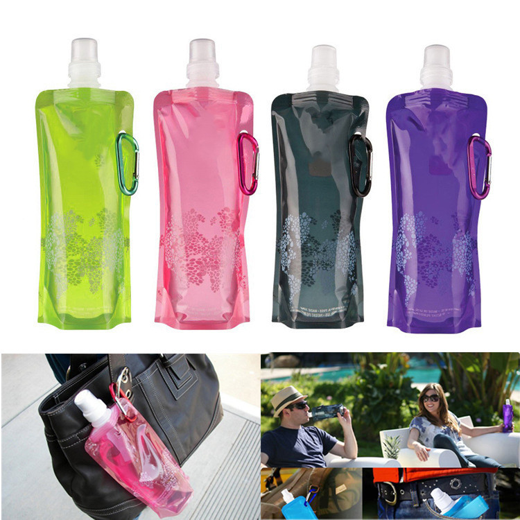 Foldable Water Bottle Bags 480ML Environmental Protection Collapsible Portable Outdoor Sports Water Bottles for Hiking Camping|Water Bottles| |  - AliExpress