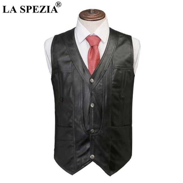 63ec0fe04bb93 LA SPEZIA Men Vest Genuine Sheepskin Leather Slim Fit Sleeveless Jacket  Male Real Leather Luxury Brand Classic Casual Waistcoat