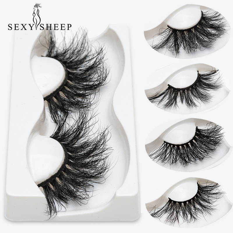 SEXYSHEEP 25mm 5D Mink Eyelashes 100% Cruelty Free Lashes Handmade Reusable Natural Eyelashes Popular False Lashes Makeup