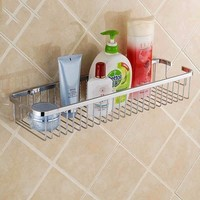 Bathroom Accessories Stainless Steel Single Tier Storage Shelves Kitchen Storage Rack Shower Room Wall Mounted Holder For Spice
