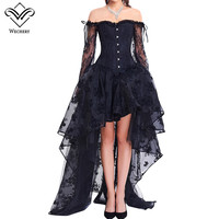 Wechery Women Steampunk Corset Sets Sexy Long Sleeve Lace Corselet Ddress For Party Wedding Out of shoulder Bustiers Korset Suit