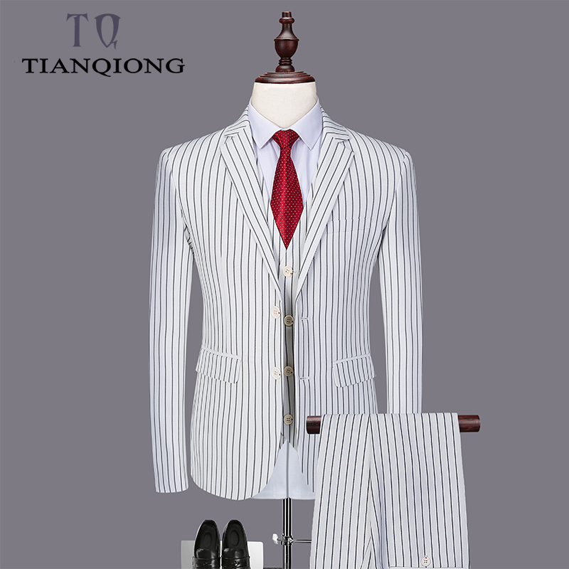 Erkek Kıyafeti'ten T. Elbise'de TIAN QIONG Beyaz Çizgili Düğün Takımları 3 Adet Erkek Takım Elbise Slim Fit Damatlar Düğün iş elbisesi Pantolon (ceket + pantolon + yelek)'da  Grup 1