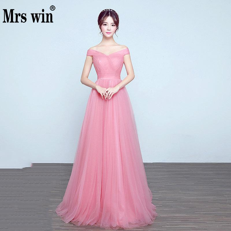 Mrs Win New Sexy Boat Neck Evening Dress Slim Long Skirt Elegant Dinner Party Show Host Dress  Vestido De Festa Vestido Longo L