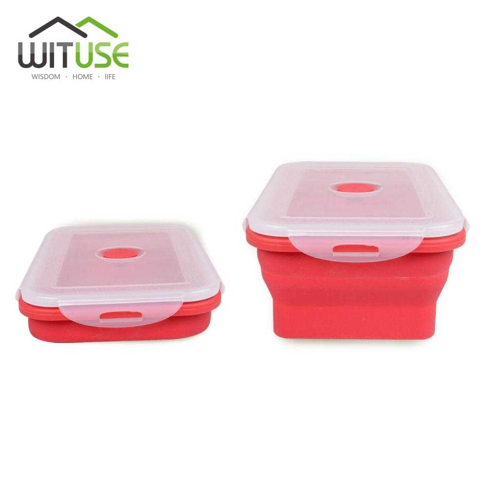 WITUSE Cheap! 350 540ml 800ml 1200ml Portable Lunch Box Food Storage Container Collapsible Bento Boxes For Food Microwave Oven