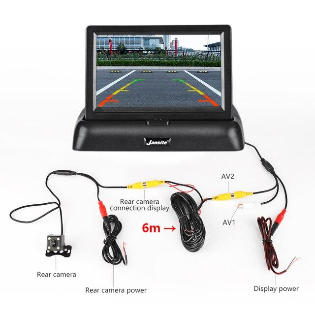 VTOPEK-moniteur de voiture LCD TFT | 4.3 pouces, écran pliable, caméra inversée, système de stationnement, moniteurs de rétroviseur de voiture, NTSC PAL