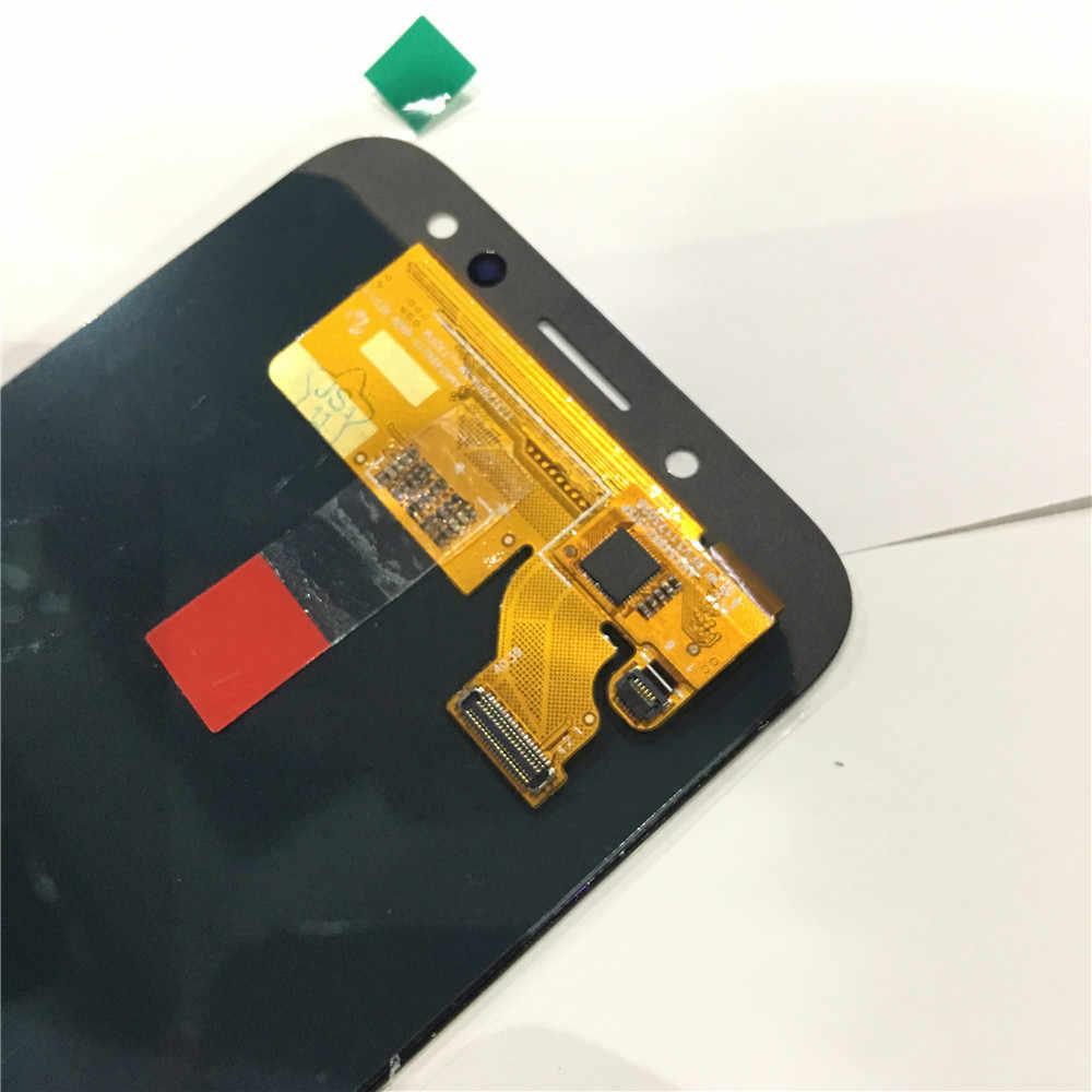 スーパー AMOLED 液晶ディスプレイ 100% テスト作業タッチスクリーンサムスンギャラクシー J7 プロ 2017 J730 J730F 強化ガラス
