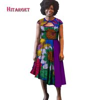 2019 New Bazin Riche African Dresses for Women Print Cotton Splice Dresses African Dashiki Women Plus Size 6XL Clothing WY2744