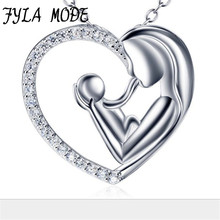 Fyla Mode Genuine 925 Sterling Silver Love Heart Necklace Mother Hold Baby Family Necklace Jewelry Mother'Day Gifts