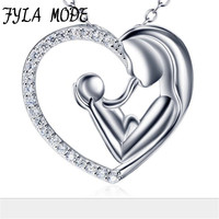Fyla Mode Genuine 925 Sterling Silver Love Heart Necklace Mother Hold Baby Family Necklace Jewelry Mother