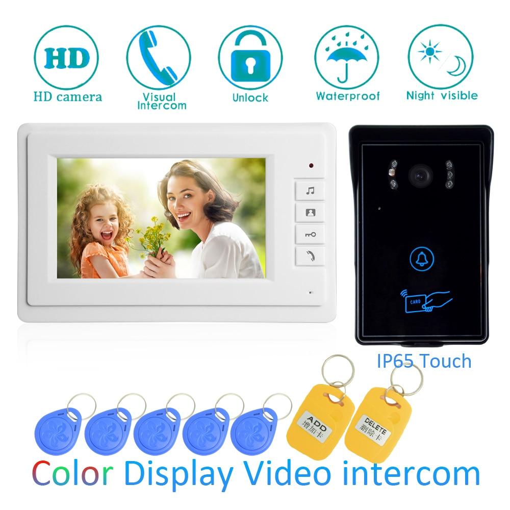 (1 SET)Touch Button Video Intercom Improvement Tool Door Phone 7'' Monitor RFID Card Unlock Release Function Door Bell System