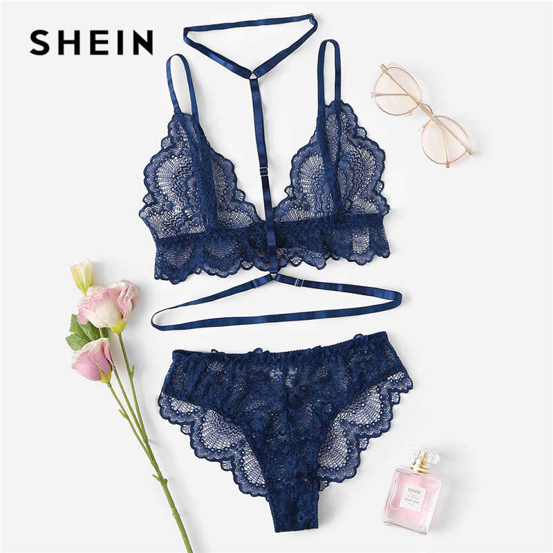 9f313bea251 SHEIN Sexy Navy Trim Lace Unlined lingerie Set Hot Women V Neck Sleeveless  Wireless Bralettes and