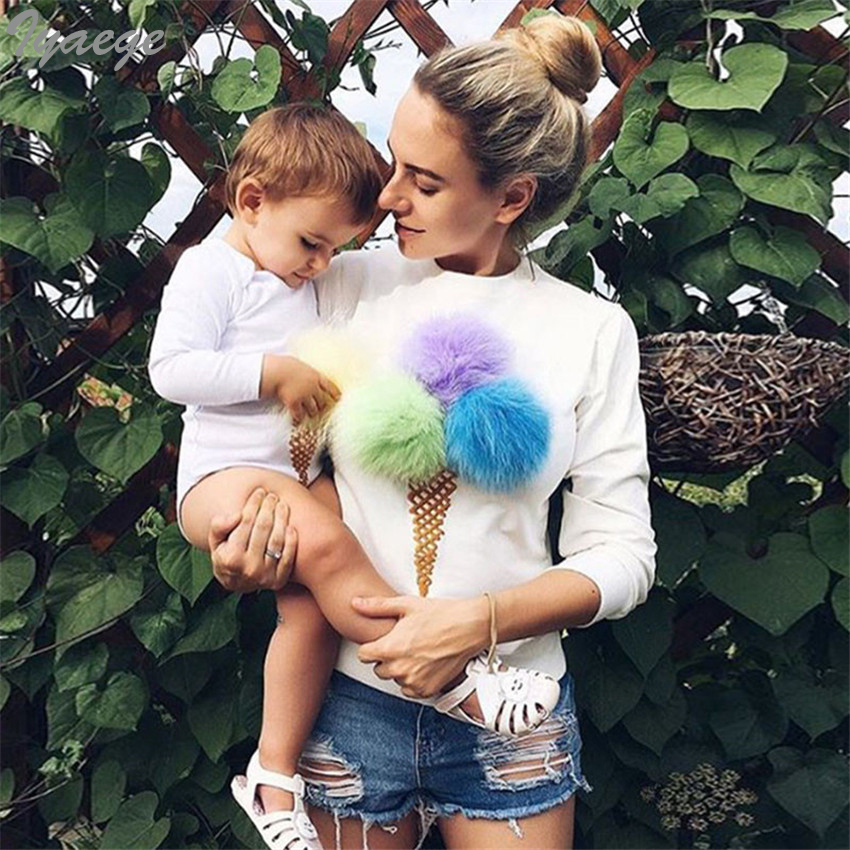 Cute Female Sweaters Pullovers Pull 2019 Autumn Fall New Women Fashion Jumper Fluffy Ball Ice Cream Cake Patterns Shirt Top Girl
