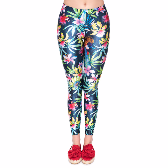 3D Digital Printing Spring and Autumn Leggings Women Flowers Pattern Trousers Women High Waist Bright Legging Fitness Sexy Pants