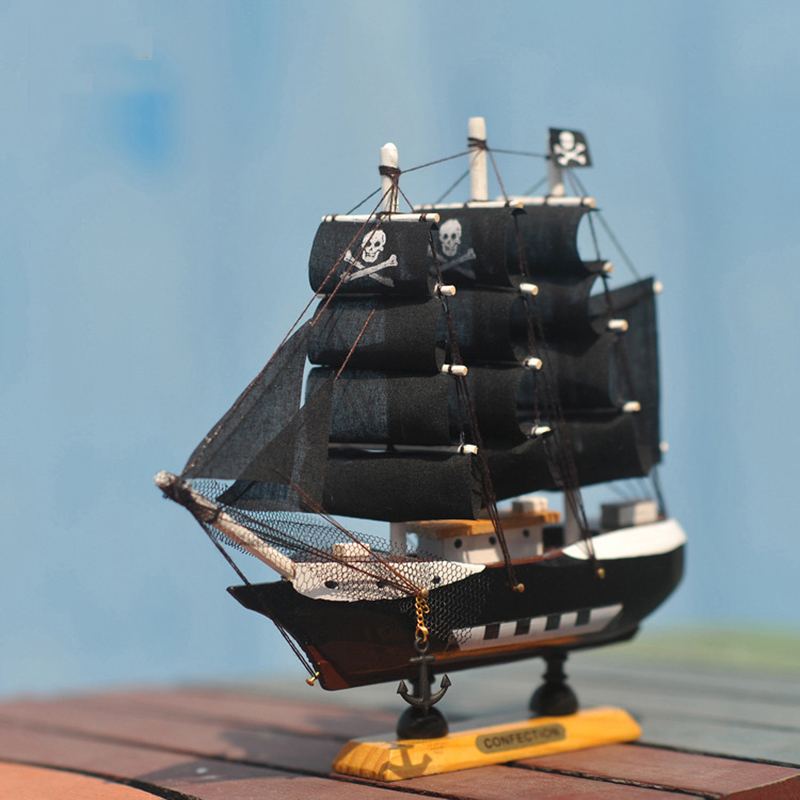 <font><b>Home</b></font> <font><b>Decoration</b></font> Mediterranean Style Caribbean Pirate Black Pearl Ship Model Birthday Gift Mediterranean Style Desk Ornament A01