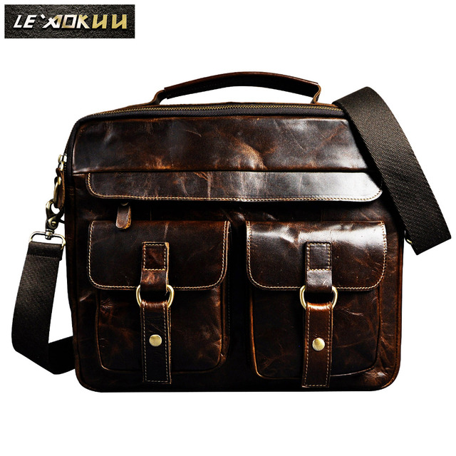 Men Real Leather Antique Design Business Briefcase 13 Laptop Bag Attache Portfolio Tote One