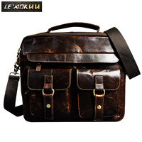 Mens Genuine Crazy Horse Leather Antique Style Briefcases Business 14 Laptop Cases Attache Messenger Bags Tote