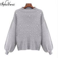 Women Poncho Pearl Beaded Rib Knit Jumper Autumn Winter Womens Pullover Sweaters Grey Stand Collar Long