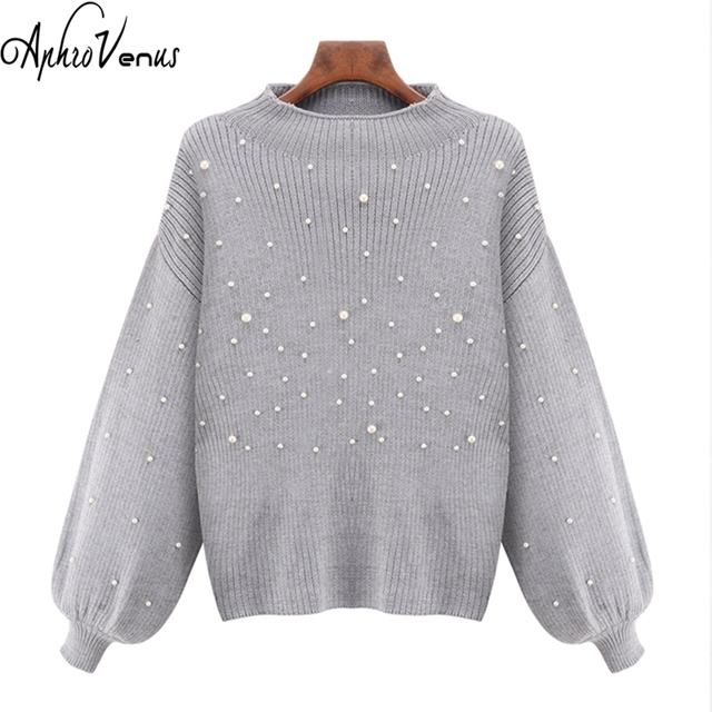 Women Poncho Pearl Beaded Rib Knit Jumper Autumn Winter Womens Pullover  Sweaters Grey Stand Collar Long 64f90d028