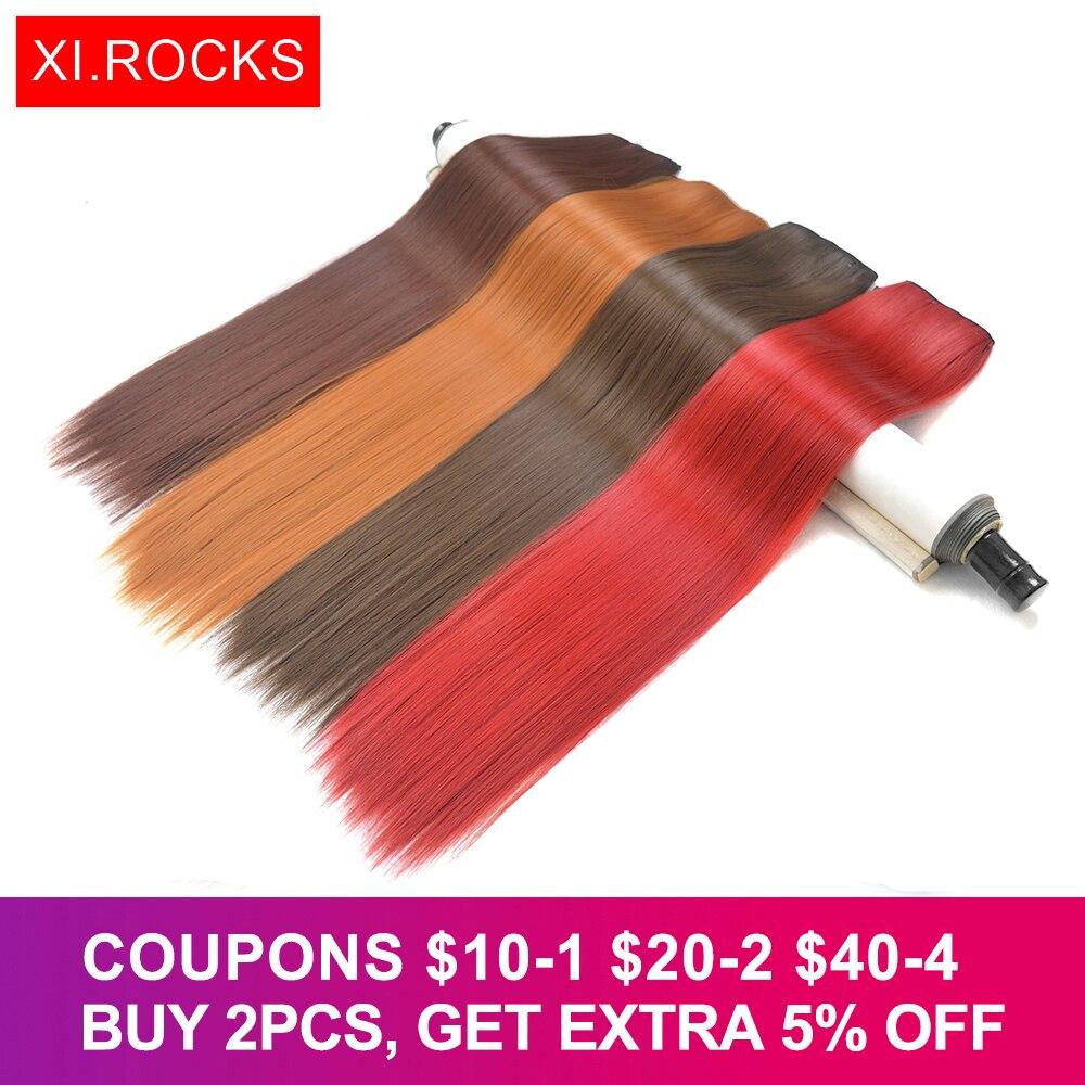 Xi.rocks Straight 5 Clip en extensiones de cabello sintético - Cabello sintético