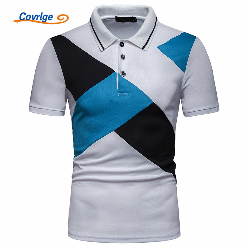 Covrlge Men Summer Fashion Patchwork Camisa   Polo   Shirts High Quality Short Sleeve Mens   Polo   Shirt Brands Brand Tee Tops MTP103