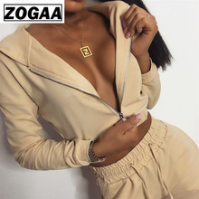 ZOGGA Solid Color Female Jogging Suits with Zipper High-quality Polyester Spandex Causal Clothes Breathable Womens Leisure Suit