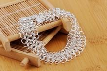 New Silver Fashion Jewelry 925 Friend Chain Bracelet Women Band Accessories Web Net Trendy