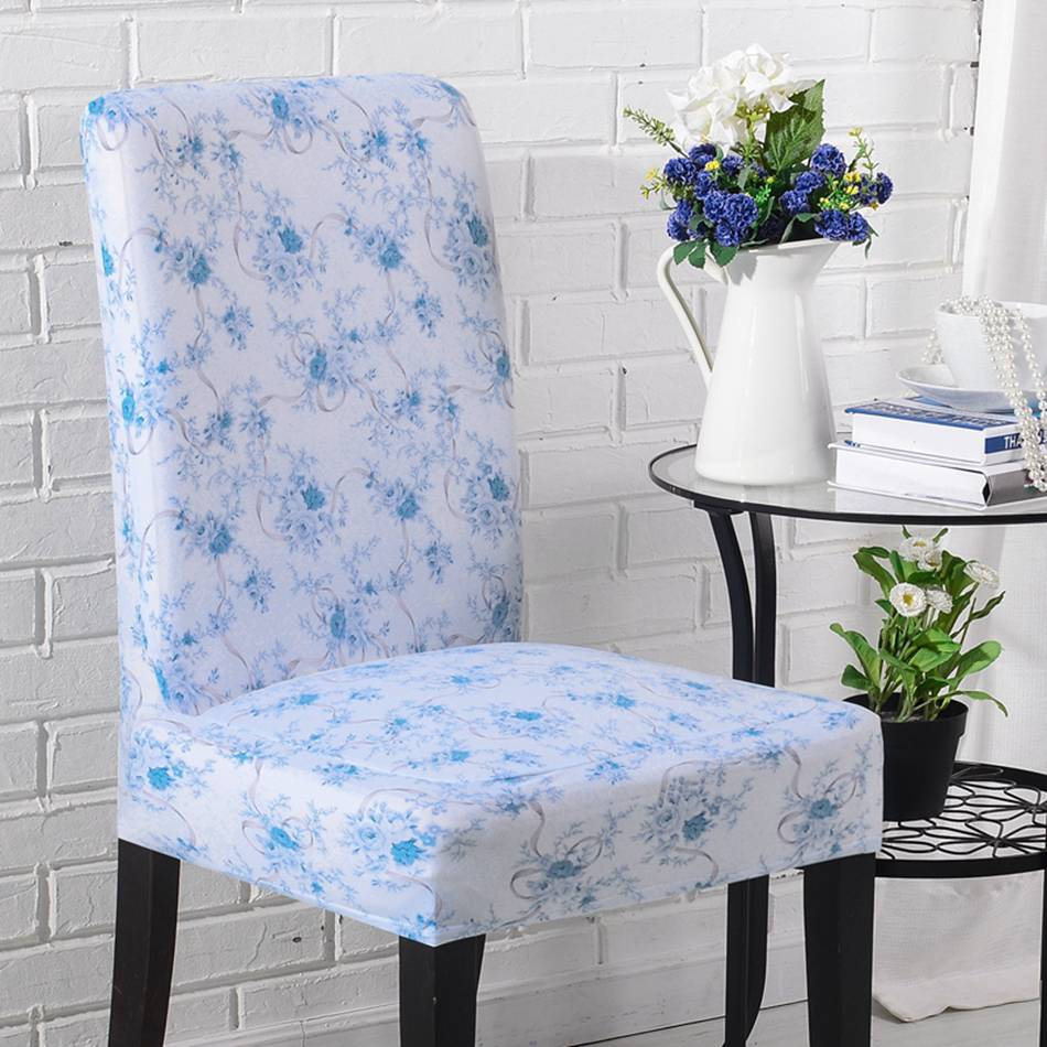 Office chair slipcovers - Agtyxlh Polyester Blue Flowers Print Stretch Chair Covers For Wedding Hotel Multi Style Floral Office Chair Covers Home Decor