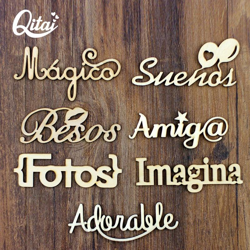 QITAI 21PCS / SET 7 Μοντέλο Ξύλο Διακοσμήστε Ισπανικά Λόγια Γράμματα Χειροτεχνία Δώρα Δημιουργικότητα Διακόσμηση DIY Ξύλινα Λόγια Wf267