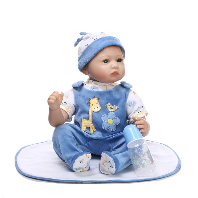 22inch Silicone reborn baby doll toys 55CM Newborn Dolls for Girls Gifts bebe reborn menina de silicone menina Bonecas brinquedo 2018 new 22inch baby reborn with siliconegirl doll for girls toys silicone reborn baby dolls 56cm baby original doll