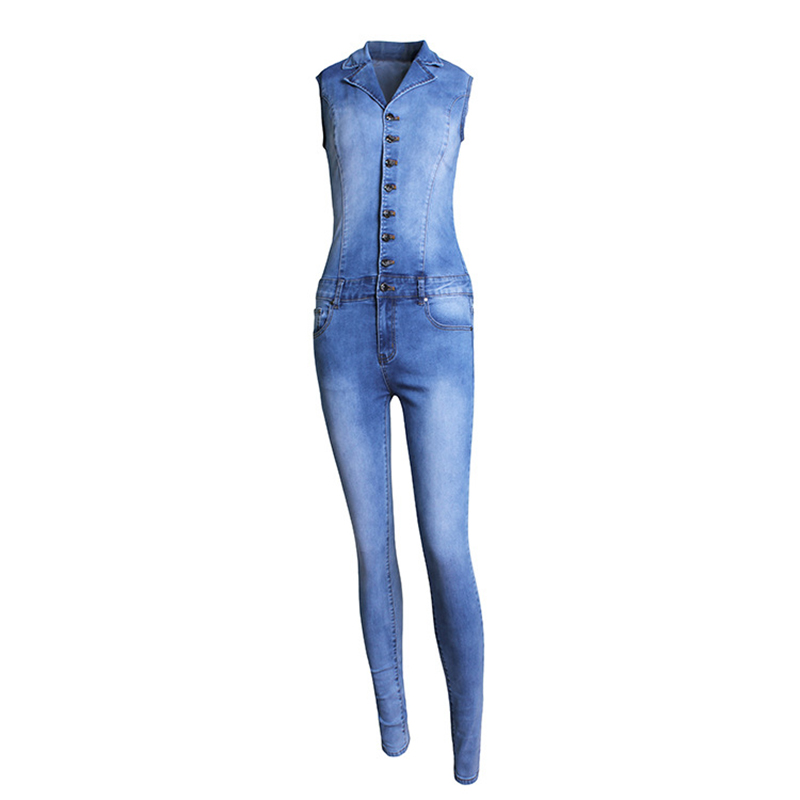 New Arrival Woman Sleeveless Denim Jeans Slim Fit Bodycon Jumpsuit Rompers Women's Clothing Jumpsuits & Rompers