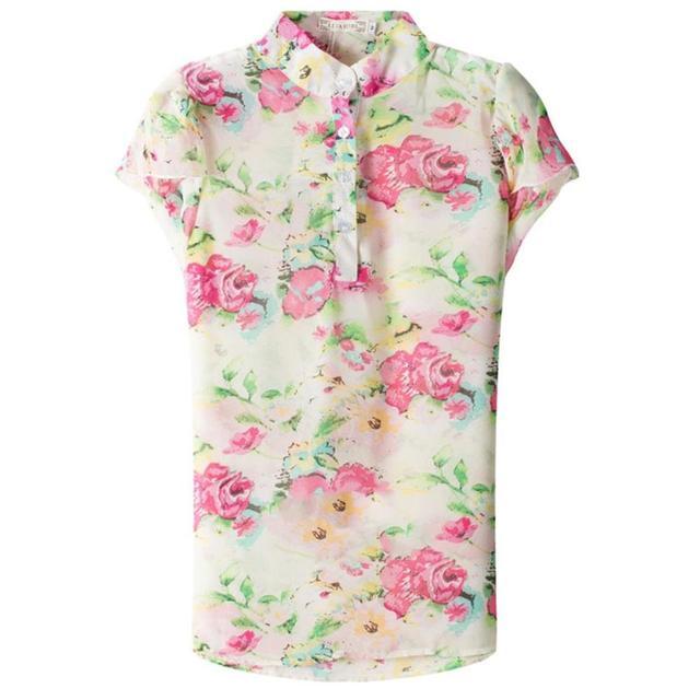 2017 Nowa Szyfonowa Koszula Moda Kwiaty Drukowane  PO1P2