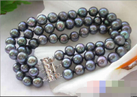 FREE SHIPPING>>>@@ > 08658 3ROW BLACK ROUND FRESHWATER CULTURED PEARL BRACELET