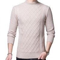 Sweater Pullover For Men 2018 Male Brand Casual Slim Sweaters Men Solid Turtleneck Jacquard Hedging Men'S Sweaters