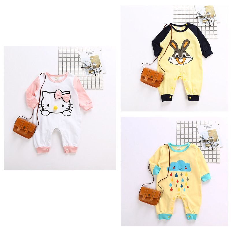 2017 Newborn Baby Boys Girls Jumpsuit Infant Autumn Cotton Long Sleeves Clothes Toddler Character Clothing Unisex Casual Rompers