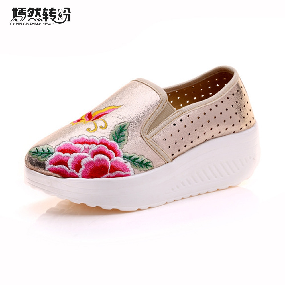 Chinese Women Shoes Flats Shiny Leather Breathable Embroidered Platform Woman Butterfly Floral Travel Shoes Zapatos Mujer vintage embroidery women flats chinese floral canvas embroidered shoes national old beijing cloth single dance soft flats