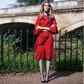 Европейский Американский Стиль Женщины Лето Проектирование Лепесток Рукава Сплошной Цвет Красный Взлетно-Посадочной Полосы Платье Каскадных Рюшами Платья Высокого Качества
