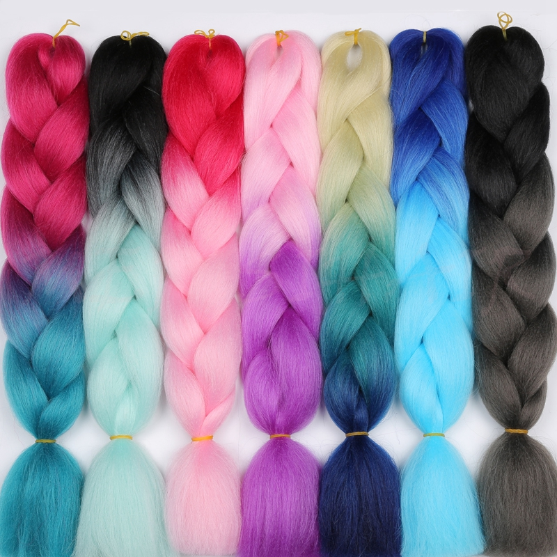 MERISIHAIR 24inch Ombre Kanekalon Pink Blonde Red Blue Braiding Hair Synthetic Crochet Hair Extensions Jumbo Braids Hairstyles ...