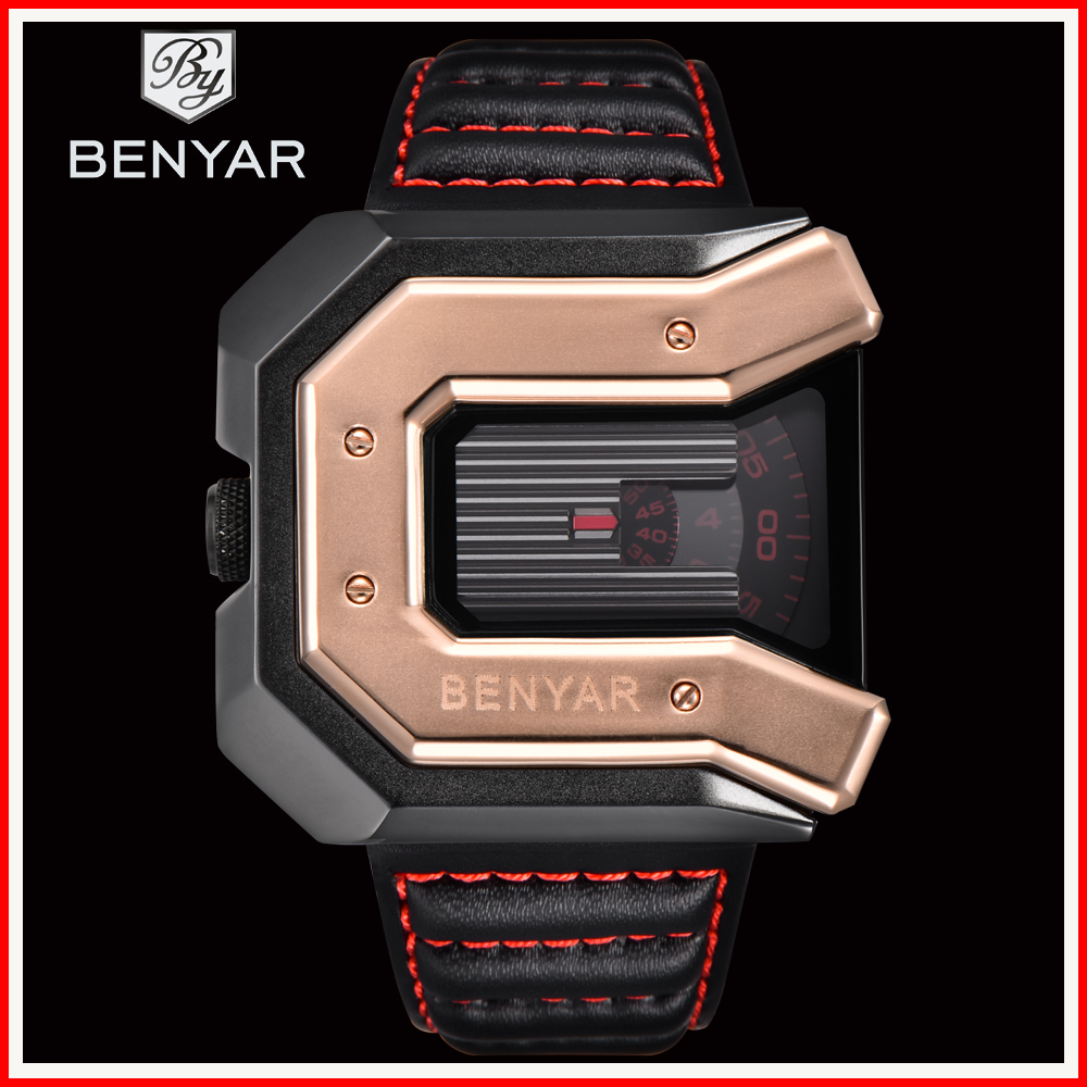 2019 Top Luxury Brand BENYAR Watches Men Unique Design Leather Waterproof Quartz Sport Watch Relogio Masculino