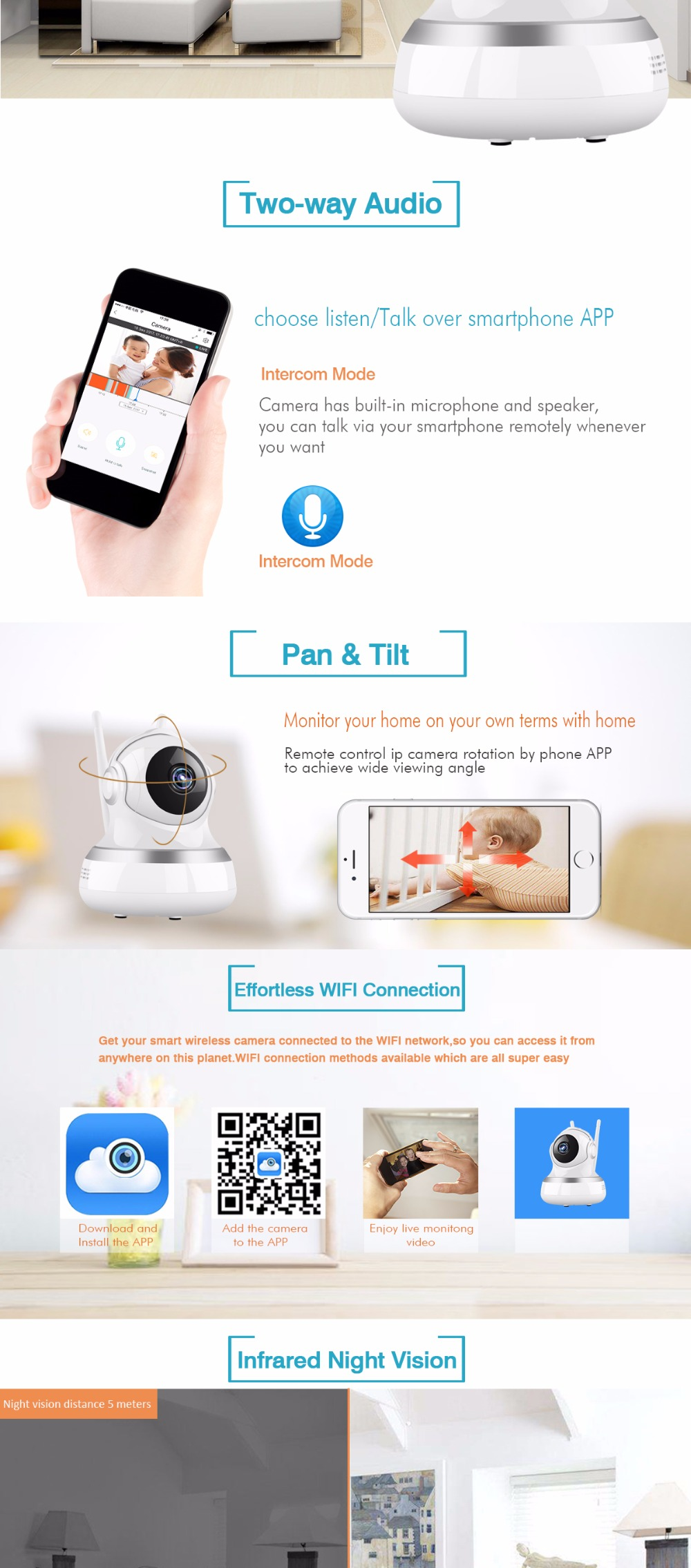 US $31 36 14% OFF IP Camera 1080P 2MP HD Wireless WIFI 360 Degree PTZ Cloud  Storage Baby Monitor CCTV Home Security Surveillance Audio P2P Camera-in