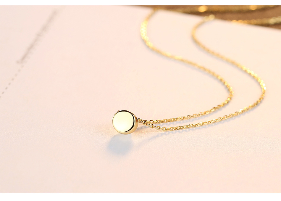 Round bean pendant art small fresh pendant simple wild necklace exquisite silver jewelry PDLS01