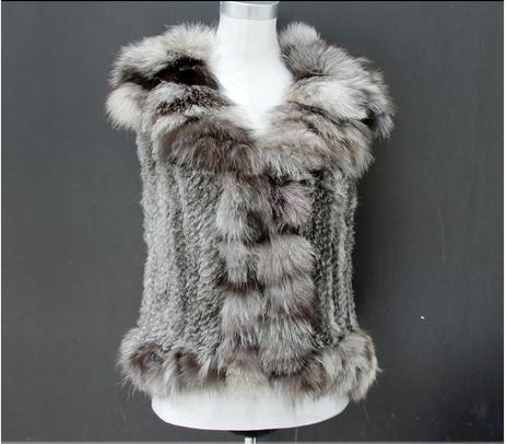 Noir Avec Rapide Expédition Style Gilet Lapin Tricoté Naturel Col Fox De gris orange Fourrure ~ Nouveau wxOX17q