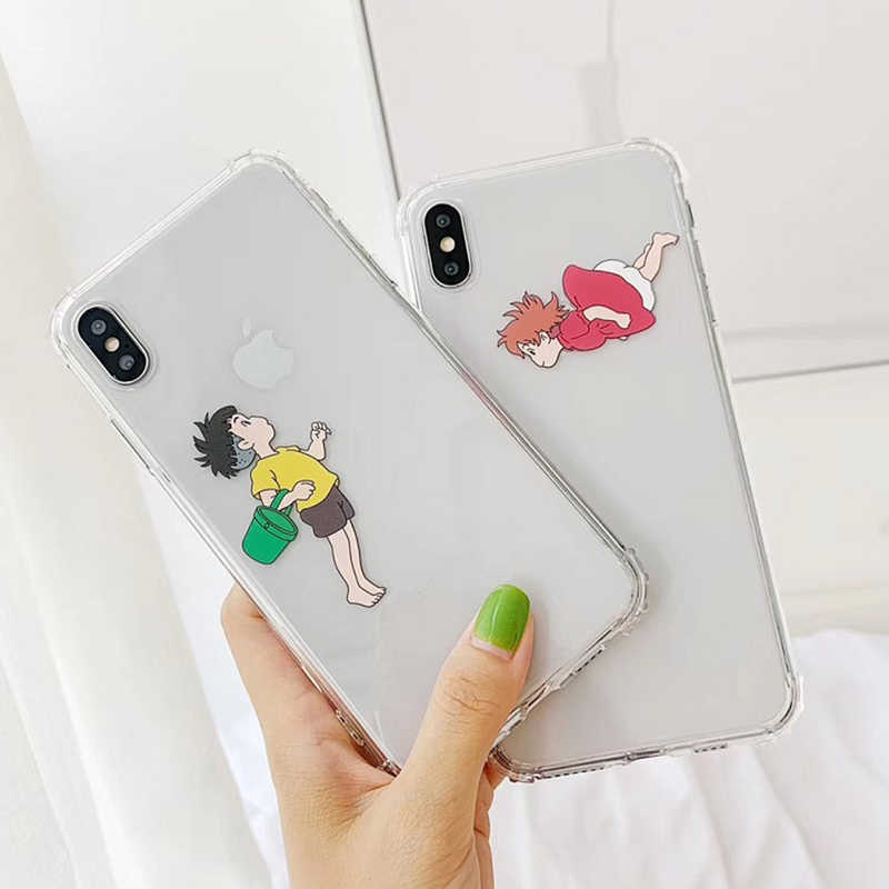 Hayao Miyazaki anime ponyo on the cliff Novelty Fundas Phone Case for iPhone 8 7 6 6S Plus X XS MAX XR clear case